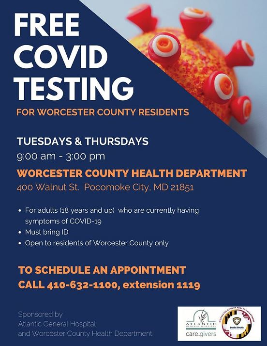 Free Covid Testing For Worcester Residents Worcester County Maryland