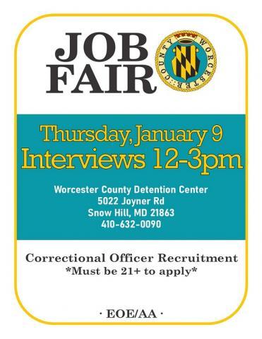 Correctional Officer Job Fair - January 9th Worcester County Jail